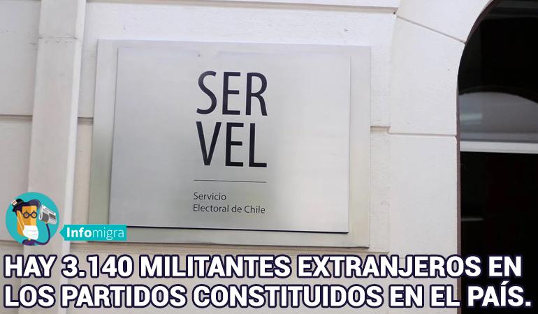 HAY 3.140 MILITANTES EXTRANJEROS EN LOS PARTIDOS CONSTITUIDOS EN EL PAÍS.